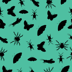 Pattern of silhouettes of insects. vector illustration. Drawing by hand.