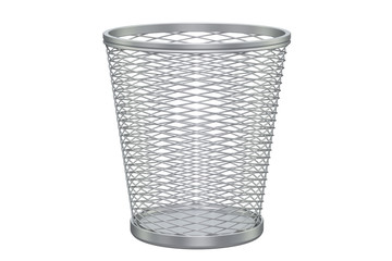 Empty metal garbage bin, 3D rendering