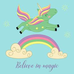 card with unicorn over the rainbow  - vector illustration, eps