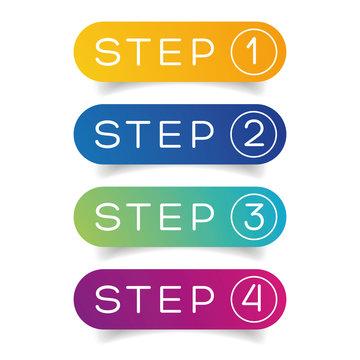 One Two Three Four steps progress