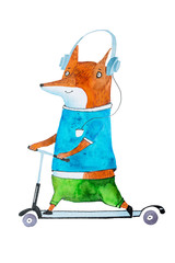Hand-drawn aquarelle illustration of stylish cartoon fox on scooter wearing bright t-shirt and trousers listening to music in headphones
