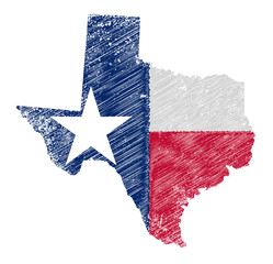 Texas Map Grunge and Flag