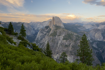 North Dome, Tenaya Canyon, Half Dome and Cloud's Rest, Little Yosemite Valley, Liberty Cap and Vernal Falls from Glacier Point, Yosemite, California, USA