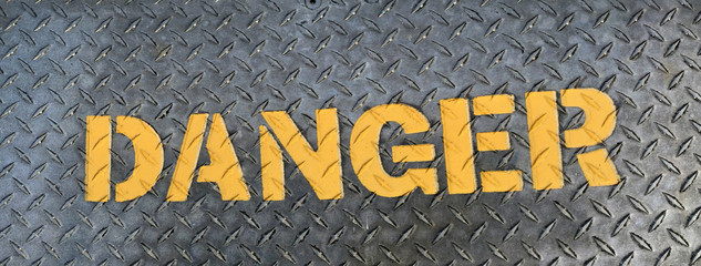 Steel Danger sign panorama
