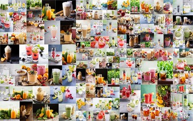 Large collage with various warm and hot drinks