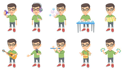 Little caucasian boy set. Boy blowing soap bubbles, playing the piano, accordion, acoustic guitar, flute, drum, tambourine. Set of vector sketch cartoon illustrations isolated on white background.
