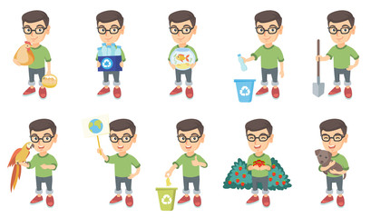 Little caucasian boy set. Boy holding chicken and hen eggs, recycling bin full of plastic bottles, aquarium with goldfish. Set of vector sketch cartoon illustrations isolated on white background.