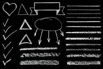 set of hand drawn chalk shape isolated on black background
