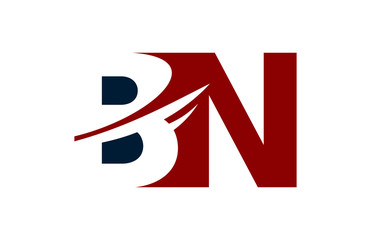 BN Red Negative Space Square Swoosh Letter Logo