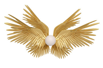 Six gold wings on white background.3D illustration.