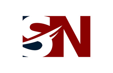 SN Red Negative Space Square Swoosh Letter Logo