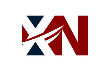 XN Red Negative Space Square Swoosh Letter Logo