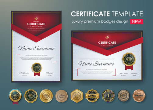 certificate template with luxury pattern,diploma,Vector illustration and vector Luxury premium badges design,Set of retro vintage badges and labels.