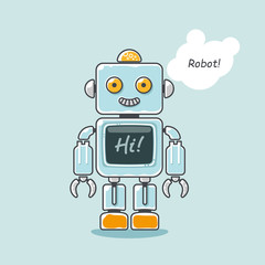 "Retro robot isolated on light blue background with word ""Hi!"" on the screen.  Vector illustration."