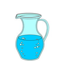 Jug or carafe with water on white background.