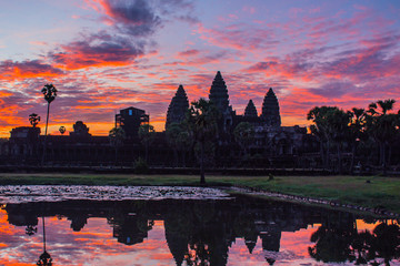 The silhouette of Angkor Wat before sunrise