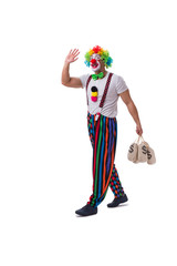 Funny clown with money bags sacks isolated on white background