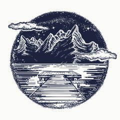 Mountains landscape tattoo and t-shirt design. Mystical symbol of tourism, dream, camping, travel. Night mountain lake tattoo and t-shirt design. Pier on lake