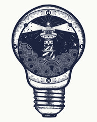 Lighthouse in a lightbulb, surreal tattoo and t-shirt design. Lighthouse on cliff in stormy weather tattoo, Lighthouse and rose compass t-shirt design. symbol of meditation, hiking, adventures