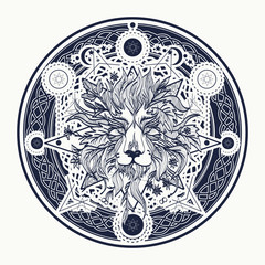 Medieval lion tattoo and t-shirt design. Ornamental Tattoo Lion Head. Alchemy, religion, spirituality, occultism, tattoo lion art, coloring books. Mystic Lion sketch tattoo art