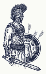 Warrior tattoo and t-shirt design. Gladiator spartan warrior holding sword and shield tattoo art. Symbol of bravery, force, army, hero. Legionary of ancient Rome and ancient Greece