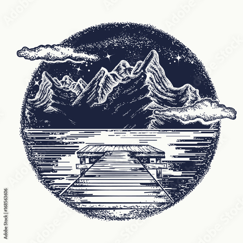 Mountains Landscape Tattoo And T Shirt Design Mystical Symbol Of