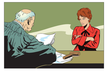 Stock illustration. Judge in courtroom.