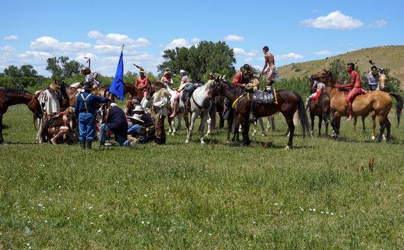 Little Bird familyÕs Reenactment of the Battle of Little Big Horn is seen near Crow Agency