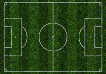 Football green field, soccer, pitch, ground, isolated. Top view