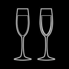 Glass of champagne white color icon .