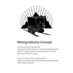 Mountain Mine Poster , Coal Mine Trolley against Mountains and Sunburst and Text, Flyer Shaft, Brochure of the Mining Industry, Vector Illustration