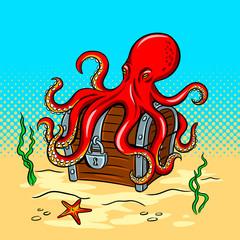 Octopus guards treasure chest pop art vector