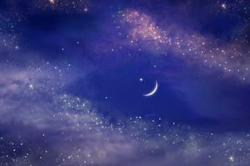 Ramadan background . Prayer time .  Dramatic nature background . Arab night
