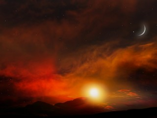 Fiery orange sunset sky . Sunset and new moon . Crescent and many clouds in night sky . Prayer time .  Dramatic nature background . Arab night