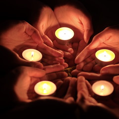 candles in hand