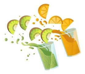 kiwi and orange juice glasses