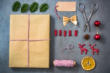 Preparing Chrstmas gift, packing