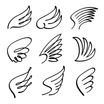 Cartoon angel wings vector set. Sketch doodle winged abstract emblems isolated on white background