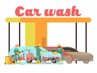 Car wash services promotional marketing vector background