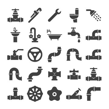 Sanitary engeneering, valve, pipe, plumbing service objects icons collection