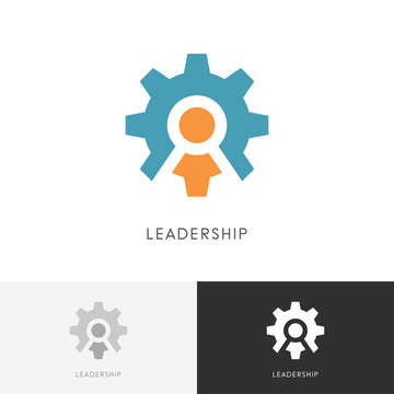 Leadership gear wheel logo - director or head with staff and pinion symbol. Business, teamwork and cooperation vector icon.