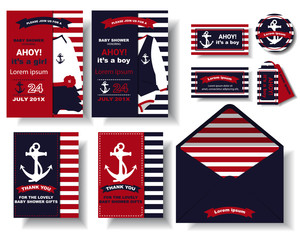 Set of Baby shower invitation card with marines style. Birthday card. Thank you card. Tags / Stickers.Vector/Illustration