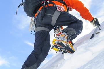 Aluminium Prints Mountaineering steiler Aufstieg zum Gipfel