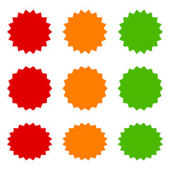 9 starbursts, bursts / labels in red, orange and green flat vector icons for apps and websites