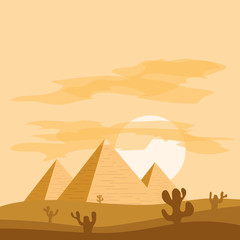Egyptian pyramids against the background of sunset