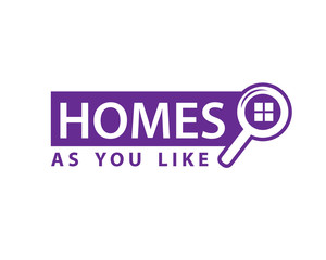 homes as you like sign, searching for home icon, illustration design, isolated on white background