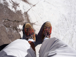Walk on a white marble slab