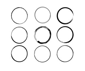 Vector black shapes of Wine circle