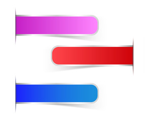 Set of blank color with shadow rectangle labels