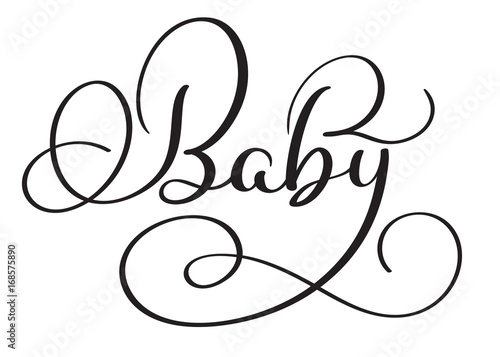 Line Art Baby : Baby word on white background hand drawn calligraphy